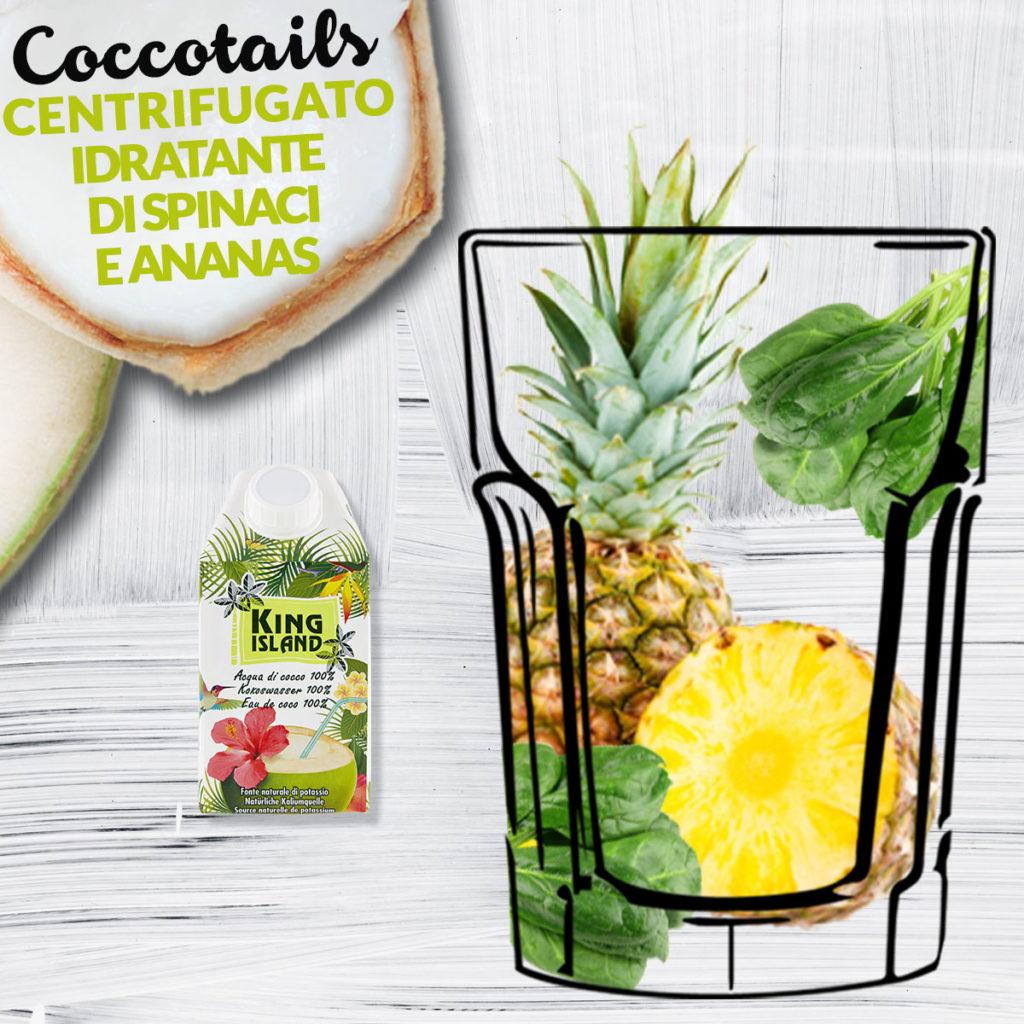 Centrifugato idratante di spinaci e ananas