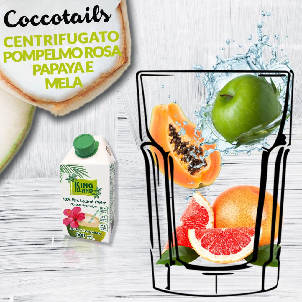Centrifugato pompelmo papaya mela acqua di cocco