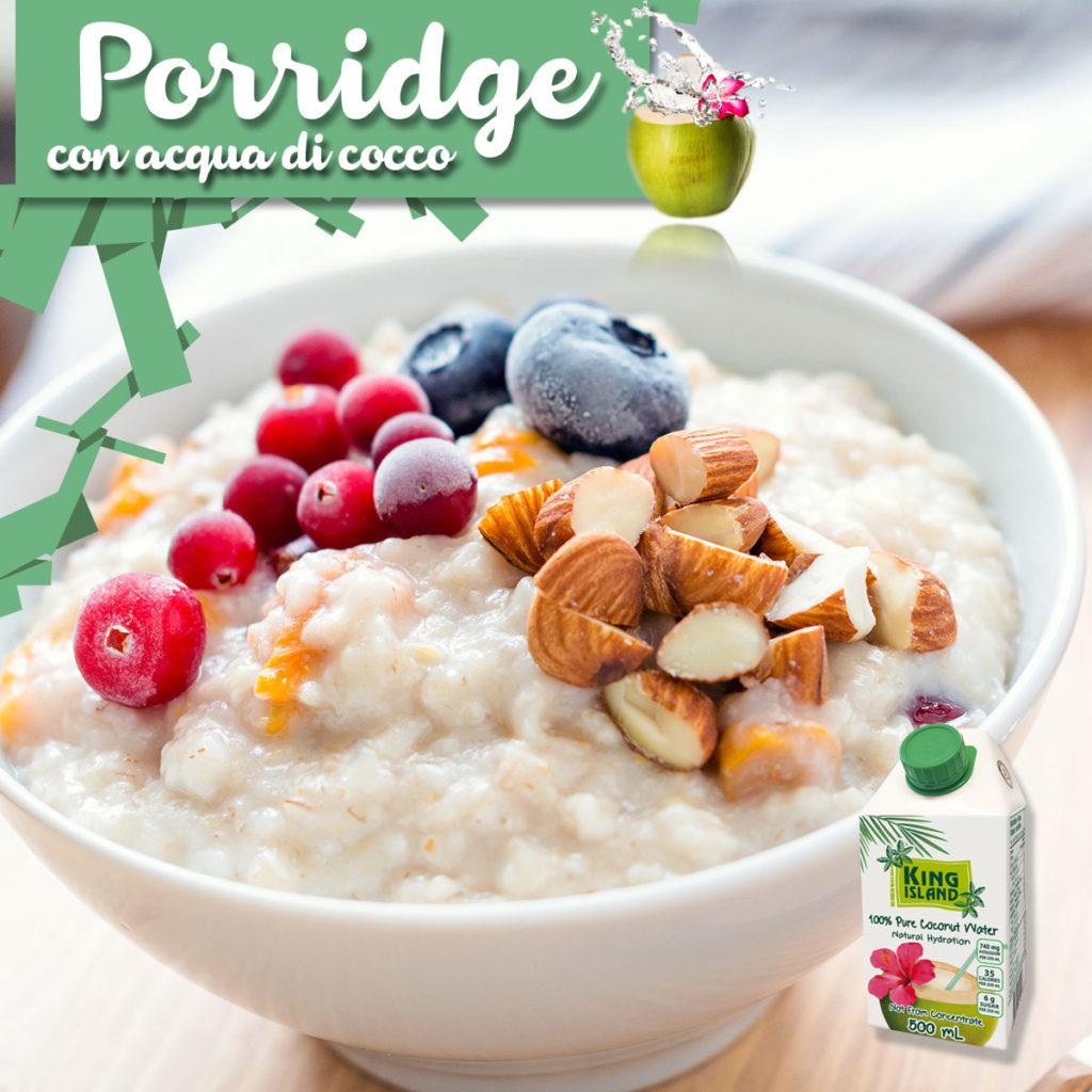 Porridge con acqua di cocco avena e quinoa